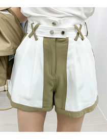 Fashion Green Contrasting Wide-leg Shorts With Belt