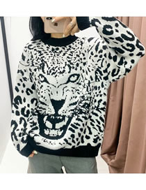 Fashion White Leopard Pattern Knitted Pullover