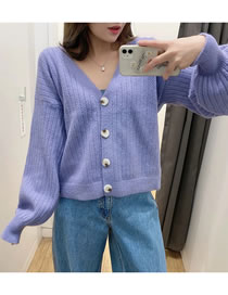 Fashion Purple Hollow V-neck Single-breasted Knitted Cardigan