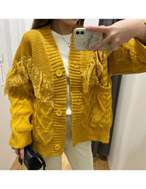 Fashion Yellow Lace Knitted Single-breasted Cardigan
