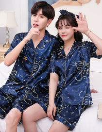 Fashion Mickey Head Womens Printed Silk Cardigan Short Short Sleeve Pajama Set