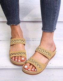 Fashion Yellow Embroidered Wedge Sandals And Slippers