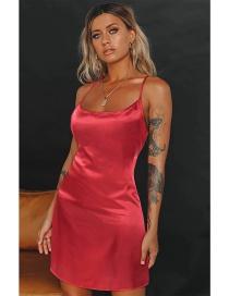 Fashion Red Wine Pure Color Sling Home Pajamas