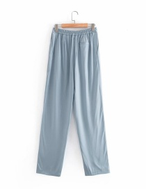 Fashion Haze Blue Solid Color Loose Wide-leg Pants