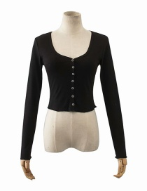 Fashion Black Peach Heart Collar Single-breasted Cardigan Long Sleeve T-shirt Top