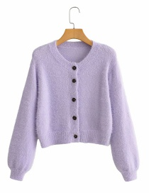Fashion Purple Faux Mink Knitted Single-breasted Sweater Cardigan