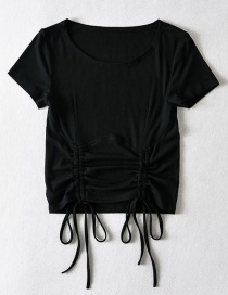 Fashion Black Double Drawstring Pleated Round Neck Short T-shirt Top