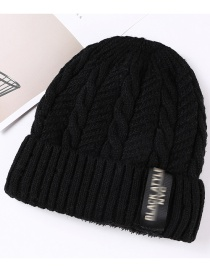 Fashion Black Letter Patch Double Layer Plus Velvet Mens Knitted Hat