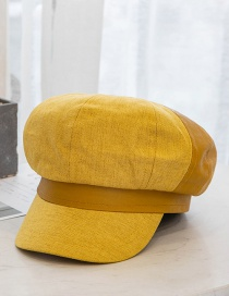Fashion Turmeric Leather U Stitching Contrast Color Octagonal Beret