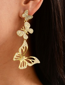 Fashion Gold Color Alloy Diamond Butterfly Hollow Stud Earrings