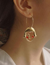Fashion Gold Color Alloy Dripping Girl Hollow Earrings