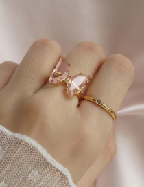 Fashion Pink Alloy Resin Butterfly Ring