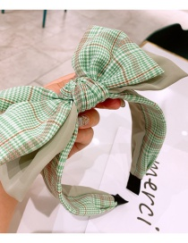 Fashion Green Houndstooth Double-layer Large Bow Headband