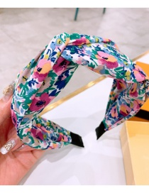 Fashion Green Pink Flowers Double-layered Headband With Flower Print Big Bow
