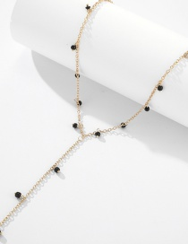 Fashion Golden Rice Beads Inlaid Tassel Alloy Necklace