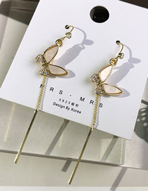 Fashion Gold Color Fritillary Butterfly And Diamond Tassel Earrings