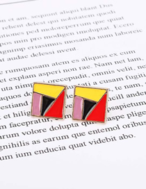 Fashion Color Mixing Oil Dripping Geometric Irregular Color Alloy Earrings