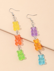 Fashion Color Mixing Resin Bear Hit Color Alloy Earrings