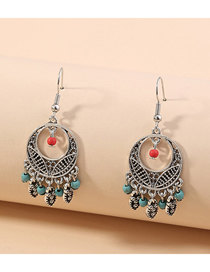 Fashion Silver Long Round Tassel Turquoise Alloy Earrings