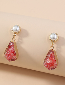 Fashion Red Pearl Drop Imitation Natural Stone Alloy Earrings