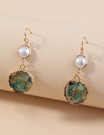 Fashion Green Transparent Round Pearl Alloy Earrings
