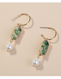 Fashion Green Crystal Cluster C-shaped Pearl Alloy Geometric Earrings