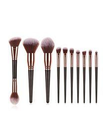 Fashion Black Gold Gradient Color Makeup Brush Set