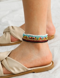 Fashion Anklet Mixed Color Rice Beads Hand-woven Hit Color Bracelet Anklet Set