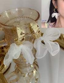 Fashion White Irregular Lace Butterfly Combined With Gold Earrings