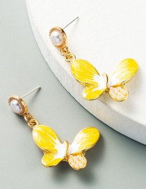 Fashion Yellow Alloy Drop Oil Inlaid Pearl Butterfly Earrings