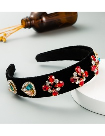 Fashion Red Gold Velvet Pearl And Diamond Geometric Wide-brimmed Headband