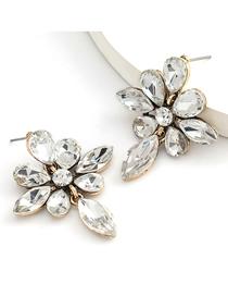 Fashion White Alloy Diamond Geometric Earrings