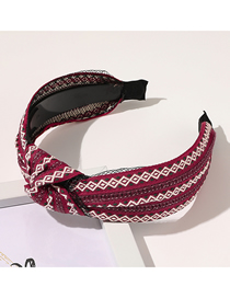 Fashion Wine Red Knotted Commoner Geometric Wide-sided Headband