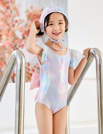 Fashion Bronzing Back Bow Shiny Mermaid Leaky Back Bowknot One-piece Swimsuit For Children