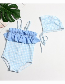 Fashion Gray And Blue Plaid Ruffle Childrens One-piece Swimsuit