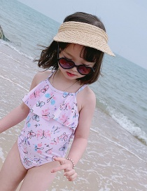 Fashion Pink Butterfly Butterfly Print Ruffled Childrens One-piece Swimsuit