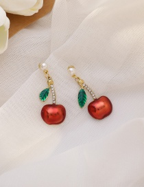 Fashion Red Pearl And Diamond Apple Alloy Earrings
