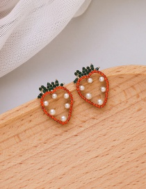 Fashion Red Pearl Diamond Resin Strawberry Alloy Earrings