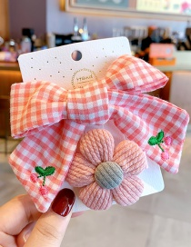 Fashion Pink Plaid + Pink Flowers Bowknot Check Embroidery Flower Lace Hairpin Set For Children