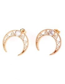 Fashion Golden Copper Inlaid Zircon Moon Hollow Earrings