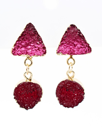 Fashion Red Imitation Natural Stone Triangle Resin Alloy Earrings