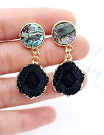 Fashion Black Abalone Shell Imitation Natural Stone Sunflower Earrings