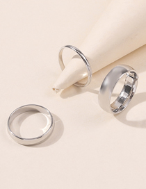 Fashion White K Plating Real Gold Color Preserving Glossy Ring Set