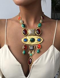 Fashion Golden Gems Inlaid Geometric Alloy Tassel Necklace