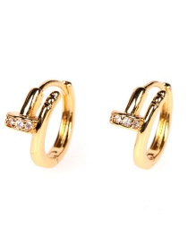 Fashion Golden Copper Inlaid Zircon Nail Earrings