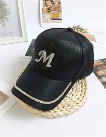 Fashion M Black Letter Cap With Diamond Butterfly Flowers