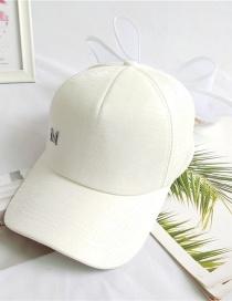 Fashion White Baseball Cap With Bow