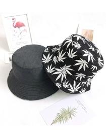 Fashion White Leaves On Black Leaf Print Sun Shade Fisherman Hat