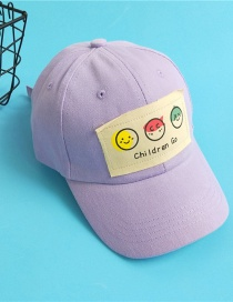 Fashion Taro Purple Childrens Baseball Cap With Smiley Letters