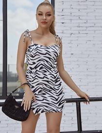 Fashion Black And White Animal Print Slit Tether Dress
